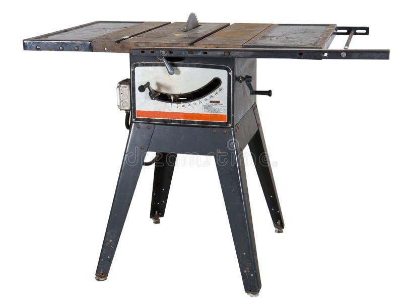 Woodworking stary Stół Zobaczyć Odosobnionego fotografia stock
