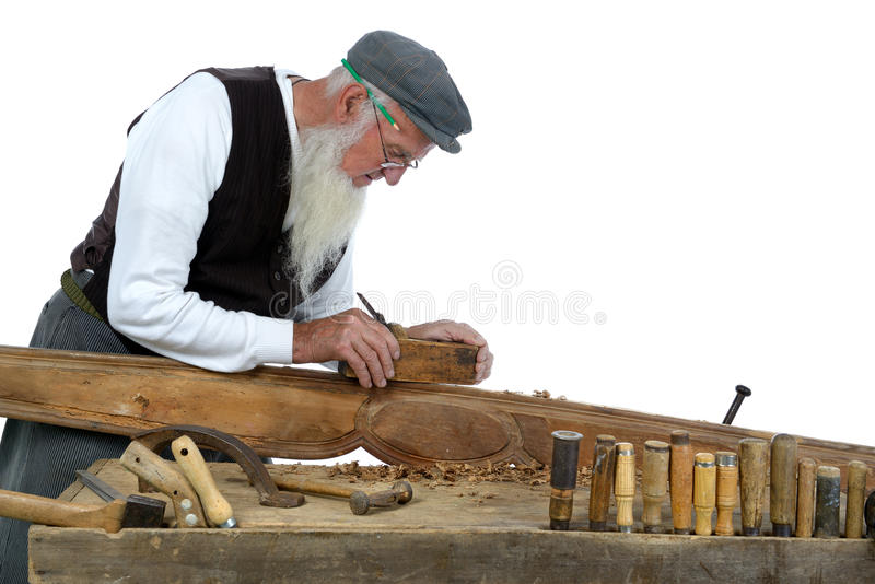 Woodworking two. Small woodworking by a carpenter in his workshop royalty free stock photo