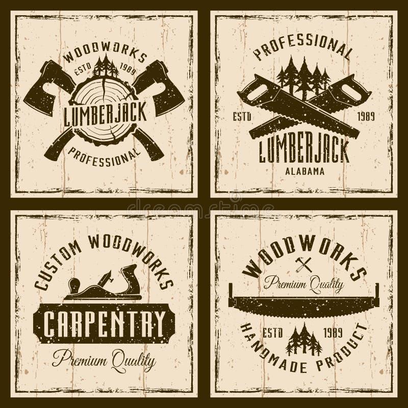 Woodworks και ξυλουργική τέσσερα χρωματισμένα αναδρομικά εμβλήματα ελεύθερη απεικόνιση δικαιώματος