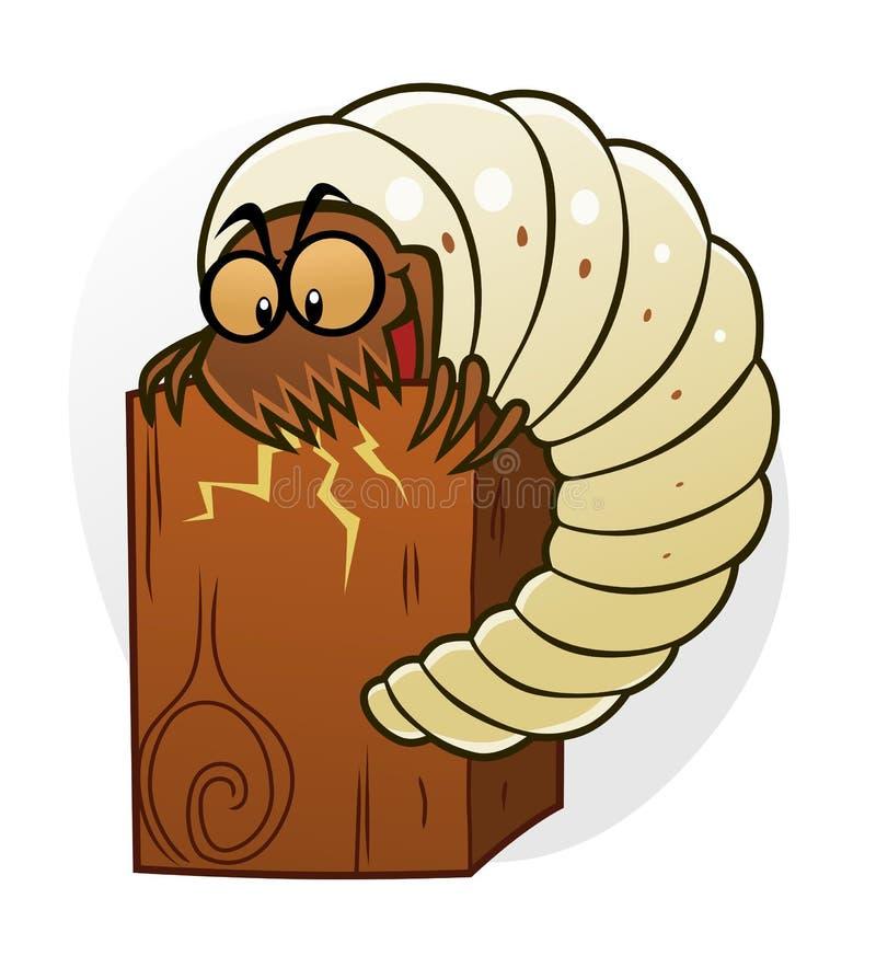 Woodworm шаржа разрушает древесину бесплатная иллюстрация