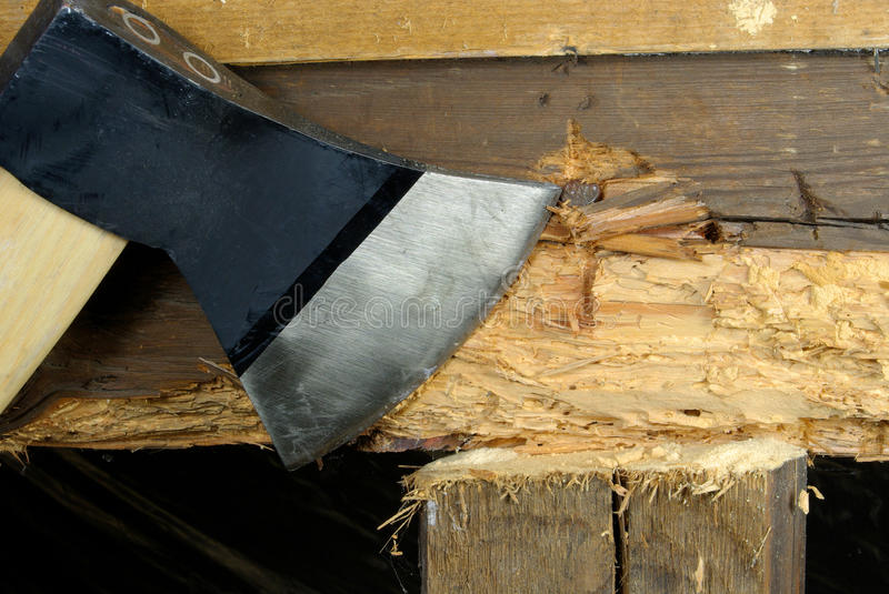 Woodworm. And axe tool, wooden construction royalty free stock photography