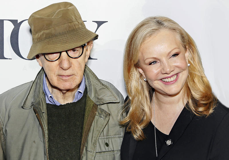 Woody Allen and Susan Stroman. Actor/director/writer/comedian Woody Allen and arrives at the 2014 Tony Awards Meet the Nominees Press Junket at The Paramount stock photos