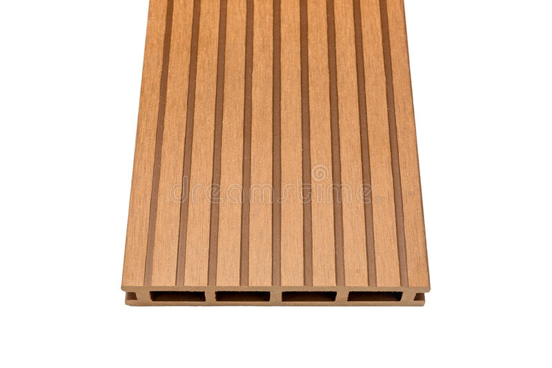 Woody composite decking board on white. Ligneous composite decking plank isolated on white royalty free stock images