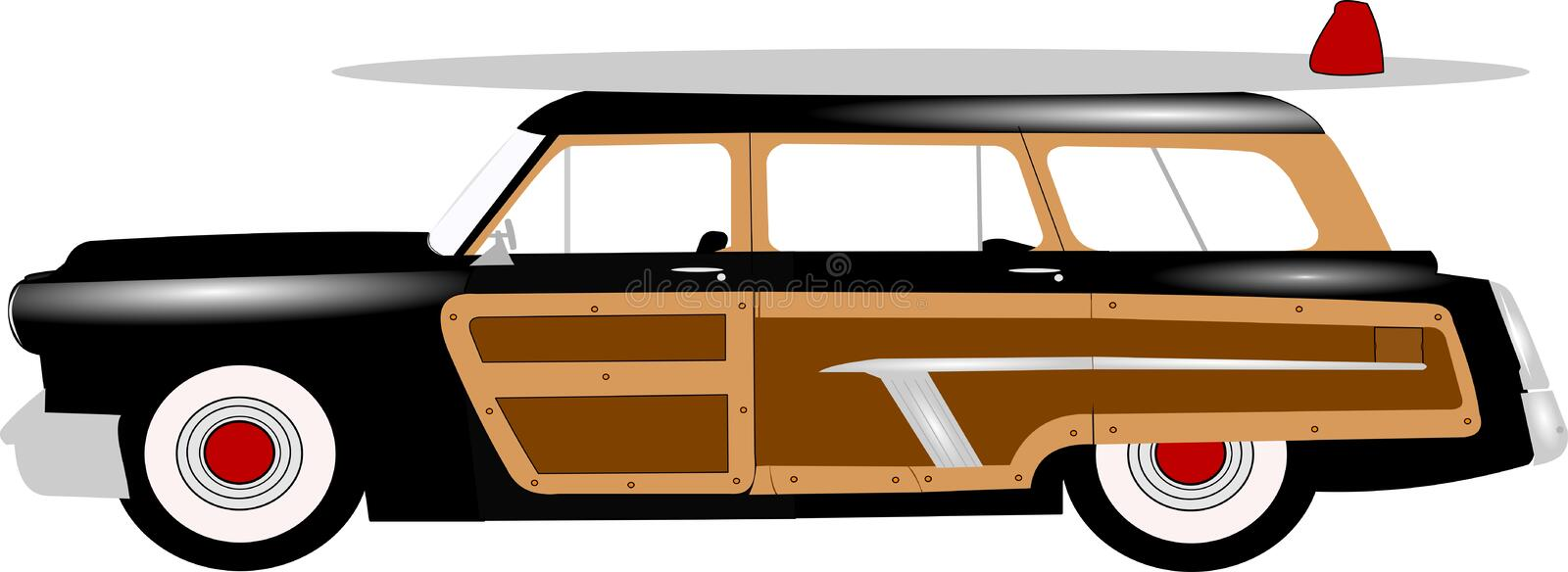 Woody station wagon. From fifties and sixties with surf board on top of roof vector illustration
