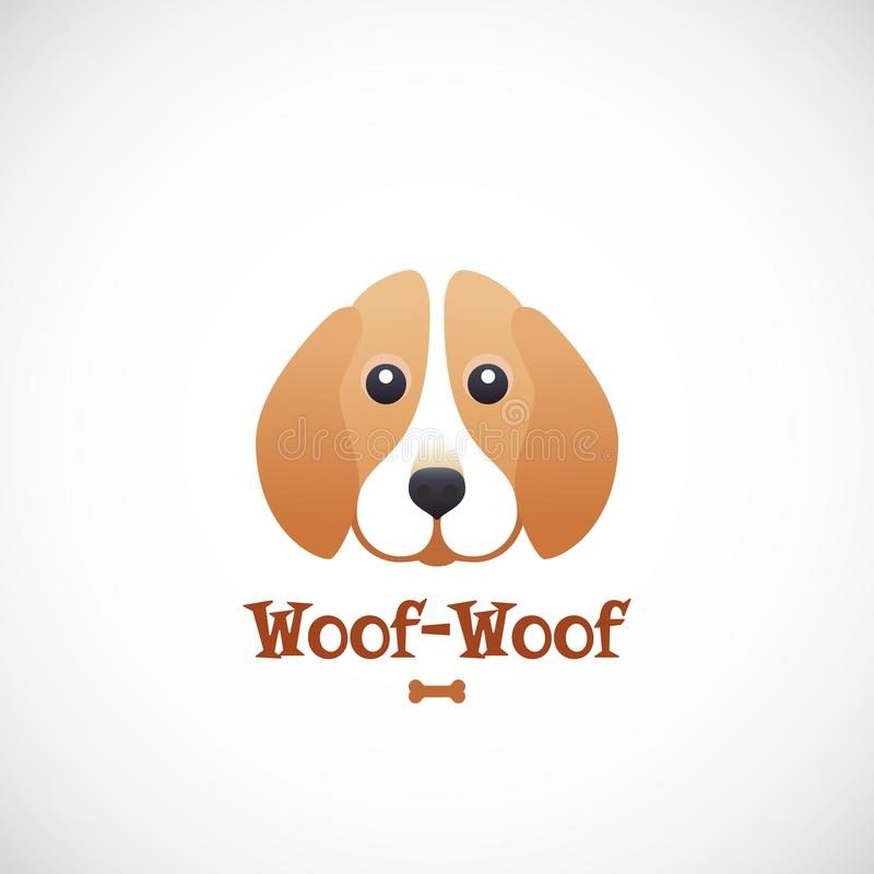 Woof-Woof Vector Sign Emblem or Logo Template. Cute Beagle Dog Face in Flat Style Concept. Good for Pets Care Programs. Stores and Shops stock illustration