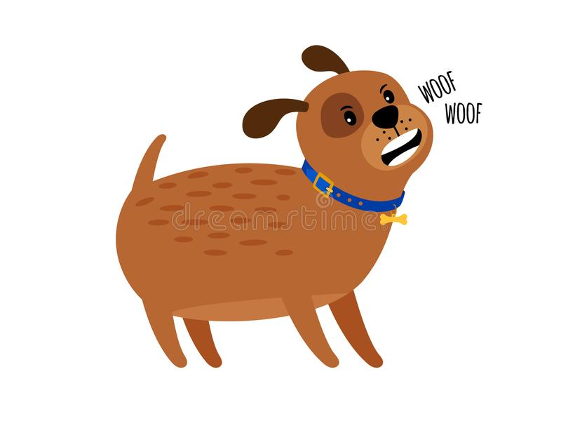 Woof woof cute puppy dog royalty free illustration