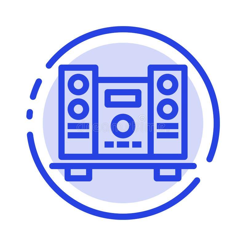 Woofer, fort, haut-parleur, ligne pointillée bleue ligne icône de musique illustration stock