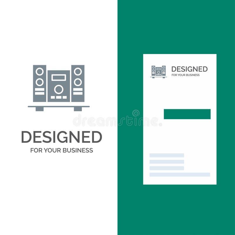 Woofer, fort, haut-parleur, musique Grey Logo Design et calibre de carte de visite professionnelle de visite illustration stock