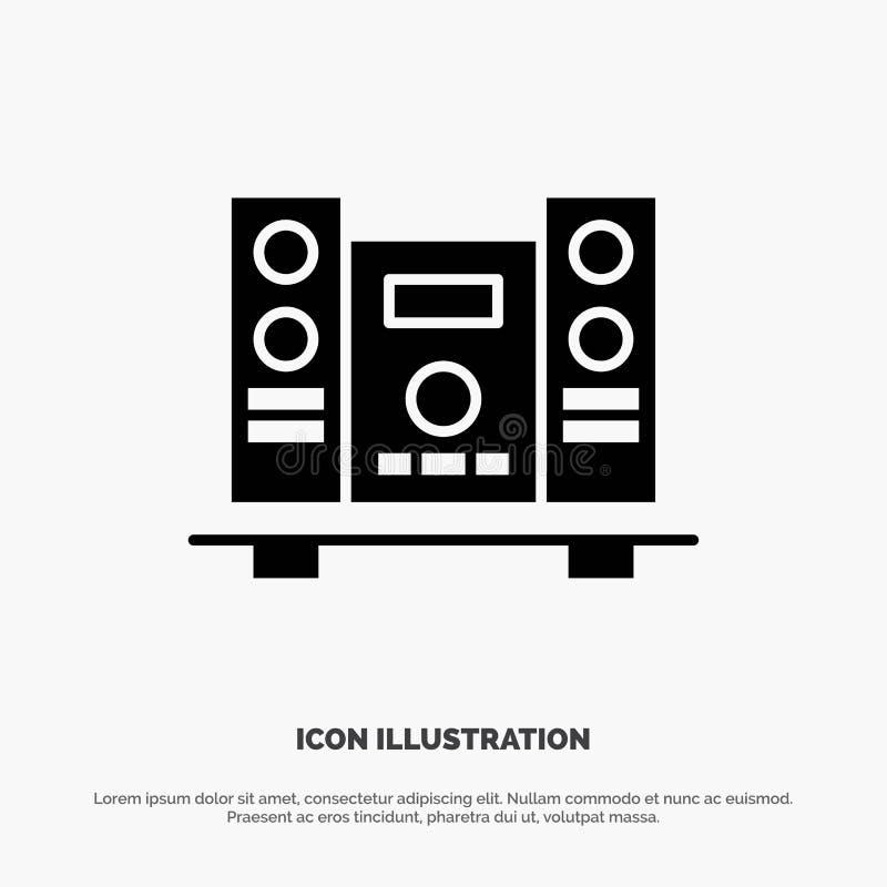 Woofer, Loud, Haut-parleur, Music Solid Black Glyph Icon illustration stock