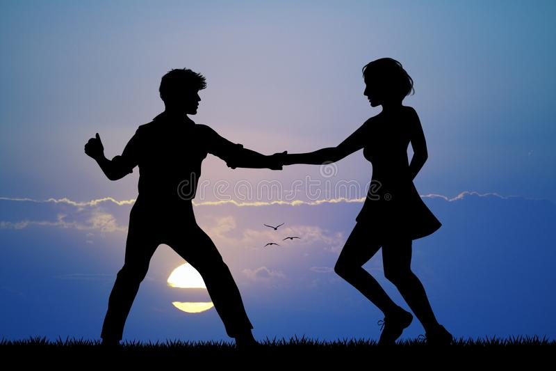 Woogie буг пар танцуя на заходе солнца иллюстрация штока