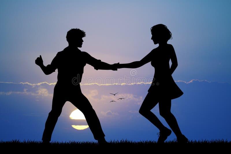 Woogie de danse de boogie de couples au coucher du soleil illustration stock