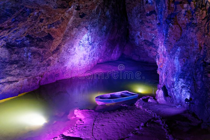 Wookie Holes Caves. Wookie Hole Caves. Tourist Attraction in Mendip Hills, in Somerset, UK. The River Axe flows through the cave royalty free stock images