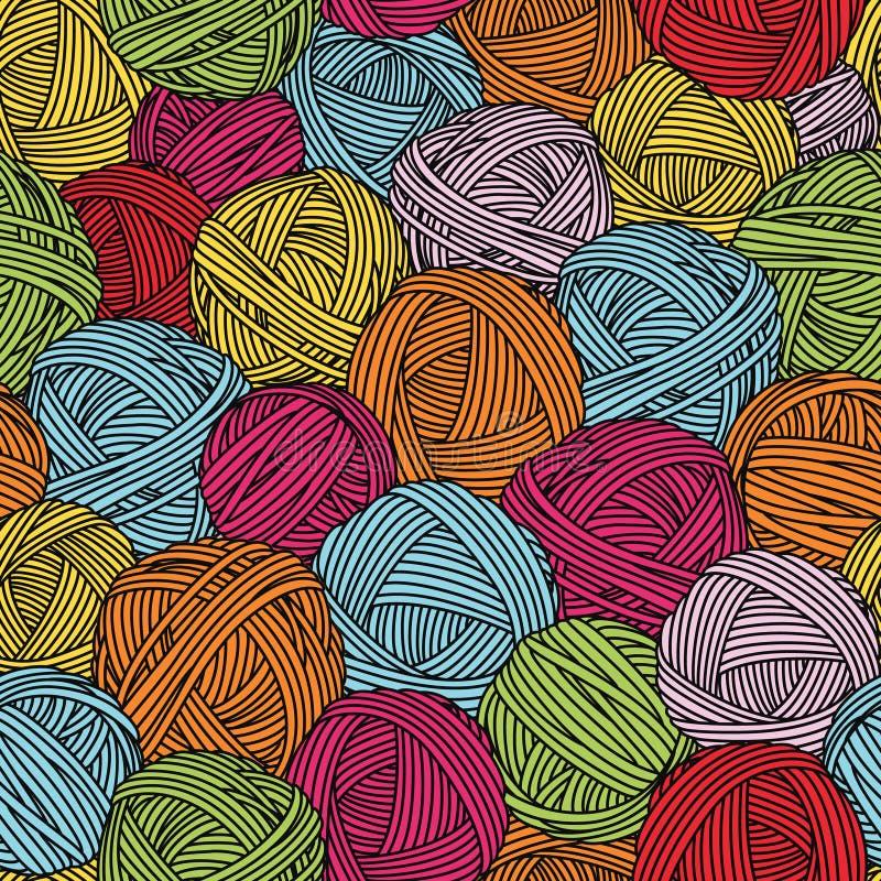 Wool balls, yarn skeins. Seamless pattern. Colorful background. stock illustration