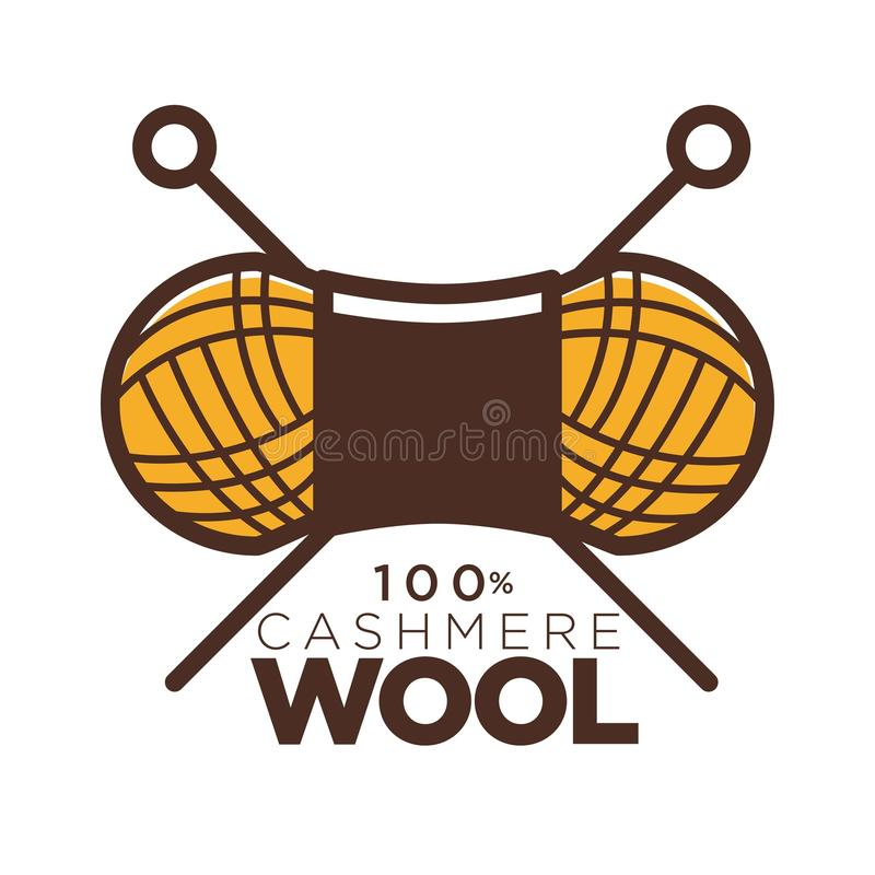 Wool cashmere clew needles icon for natural product clothing label tag. Wool clew label or 100 percent natural cashmere logo for knitwear or knitted clothing tag vector illustration