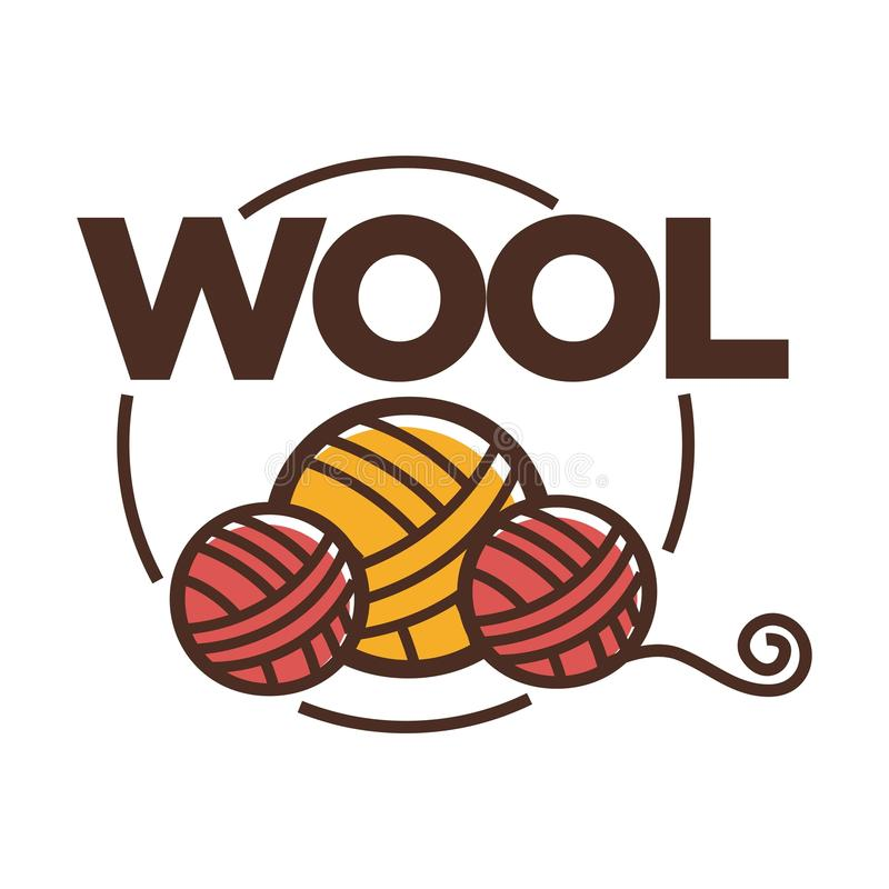 Wool clew icon for knitting handicraft or clothing label tag. Wool clew label or logo for yarn knitting handicraft or clothing production tag for pure natural vector illustration