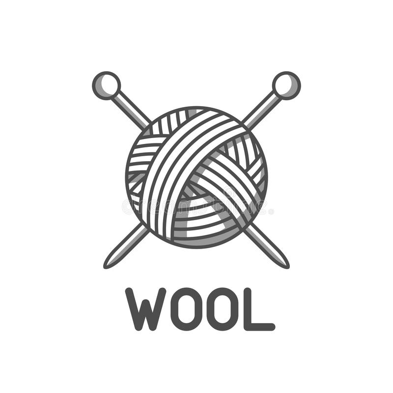Wool emblem with with ball of yarn and knitting needles. Label for hand made, knitting or tailor shop.  vector illustration