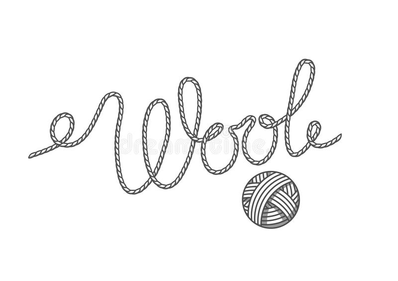 Wool emblem with with ball of yarn. Label for hand made, knitting or tailor shop.  royalty free illustration