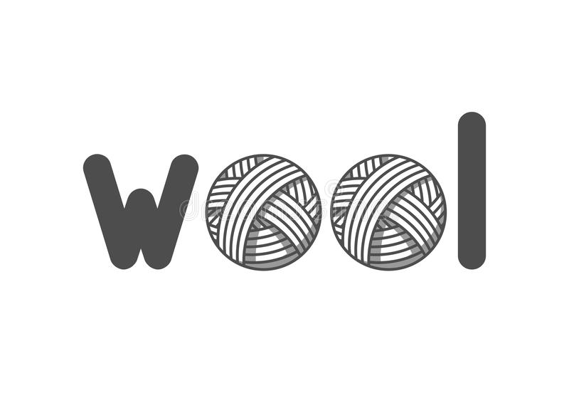 Wool emblem with with balls of yarn. Label for hand made, knitting or tailor shop.  stock illustration