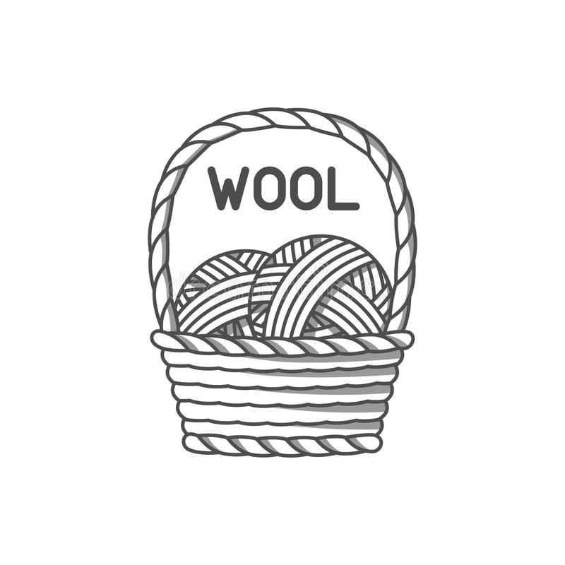 Wool emblem with merino sheep. Label for hand made, knitting or tailor shop.  vector illustration