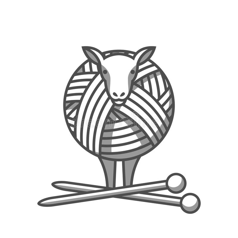 Wool emblem with sheep, tangle of yarn and knitting needles. Label for hand made, knitting or tailor shop.  royalty free illustration