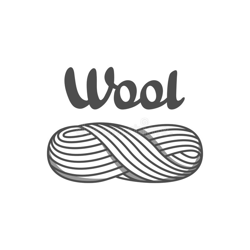 Wool emblem with with skein of yarn. Label for hand made, knitting or tailor shop.  vector illustration