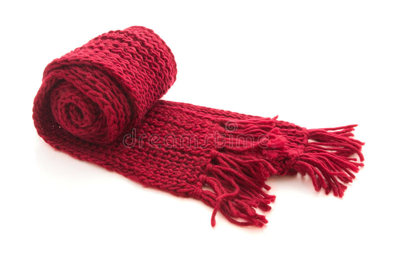 Wool knitted scarf. Red wool knitted scarf isolated on white royalty free stock photo