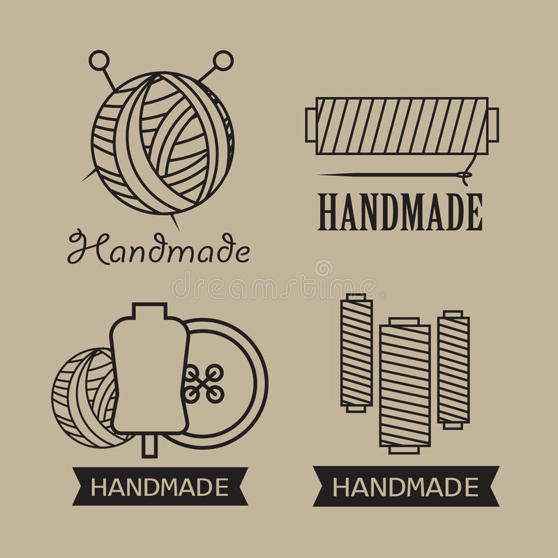 Download wool labels and elements handmade stickers stock illustration illustration of made icon