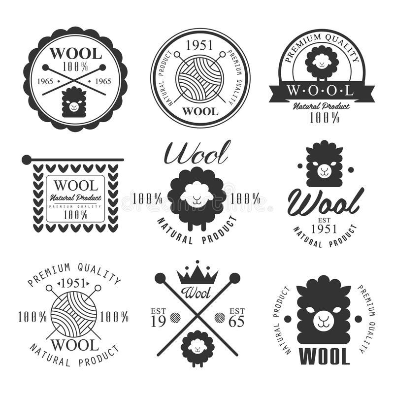 Wool labels and elements. Stickers, emblems. Wool labels and elements. Stickers and emblems for natural wool products. Vector set stock illustration