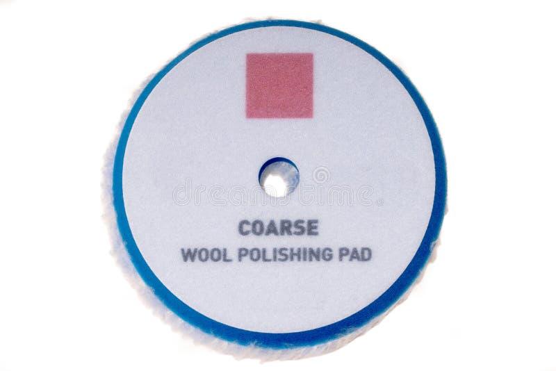 Wool polish pad with velcro backing. Automotive. Detailing. Wool polish pad with velcro backing. Automotive. Detailing stock photo