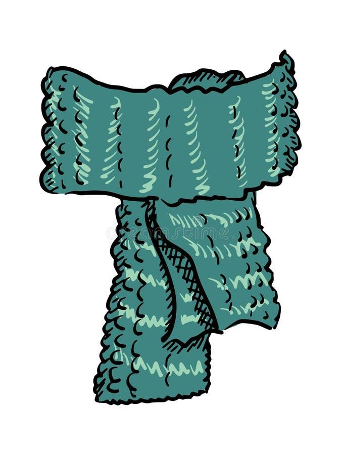 Wool scarf. Hand drawn, sketch illustration of wool scarf vector illustration