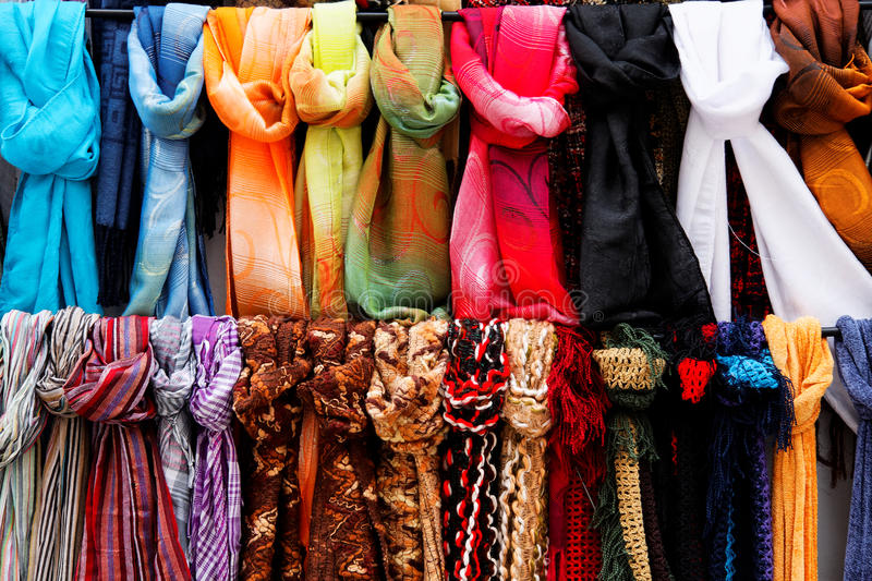 Wool And Silk Scarfs On Sale Royalty Free Stock Photography