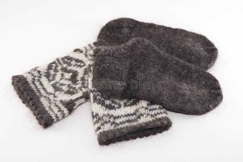 Wool socks. Preparing for winter - knitting wool socks stock photos
