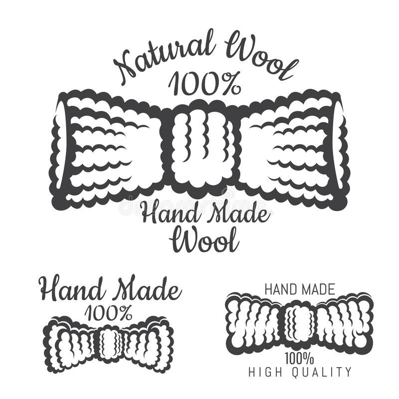 Wool or tweed bow tie black on white. Logo for craft related site or business. Isolated on white stock illustration