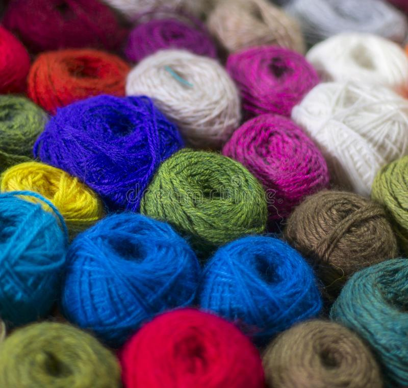 Wool yarn ball. Colorful threads for needlework. Colorful fabric texture background. Image royalty free stock photography