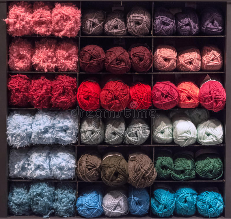 Wool yarn balls stock image