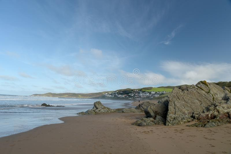 Woolacombe Bay on the Bristol Channel, North Devon. Sweeping sandy bay at Woolacombe on the coast of North Devon beside the Bristol Channel royalty free stock photography