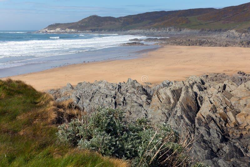 Woolacombebaai en strand Devon England en Morte-Punt stock foto's