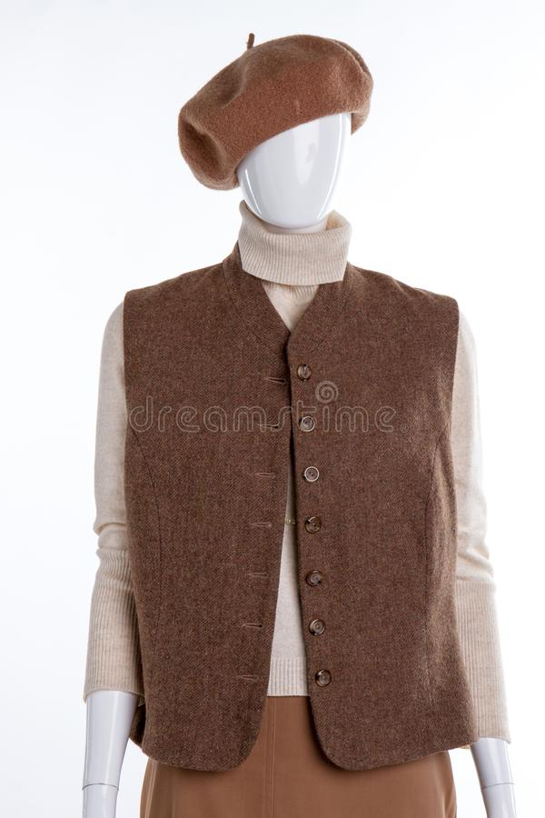 Woolen basker och waistcoat för kvinnor royaltyfri foto