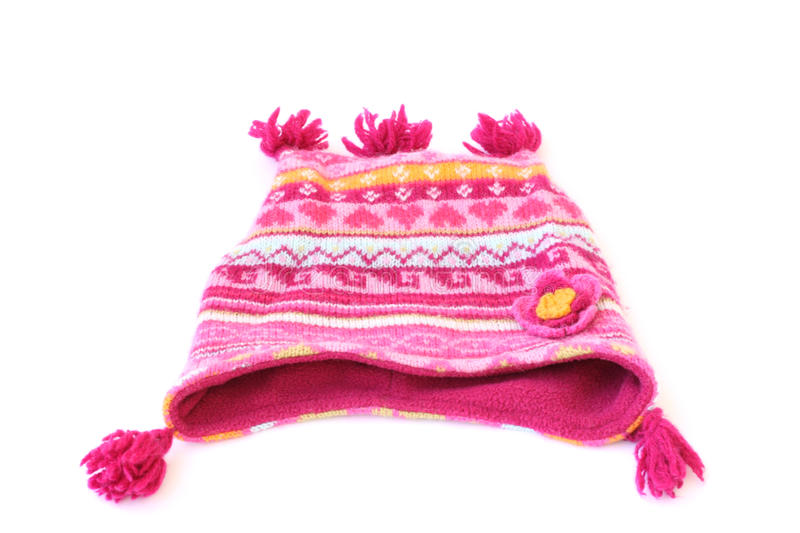 Woolen beanie. Patterned woolen beanie isolated on a white background stock photo
