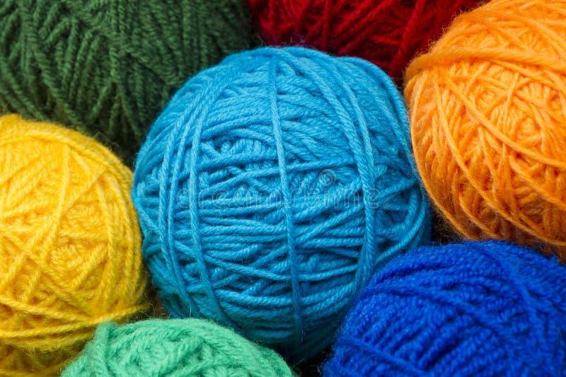 Woolen garnbollar arkivfoton