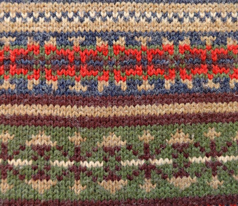 Woolen gestrickte Verzierung Norwegerart lizenzfreie stockfotografie