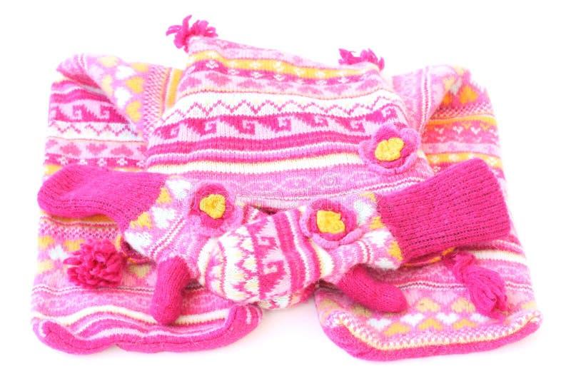 Woolen Hutschal und -handschuhe lizenzfreie stockbilder