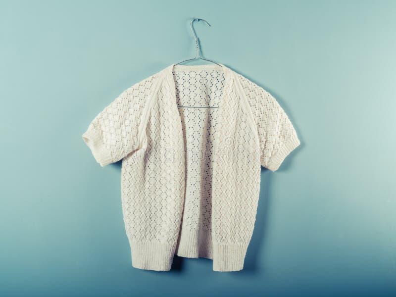 Woolen jumper on wirer hanger. A woolen jumper is hanging on a wire hanger against a blue wall stock image