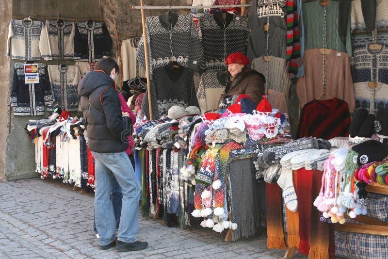 Woolen hand knitted handicrafts for sale, Tallinn (Unesco), Estonia royalty free stock photo