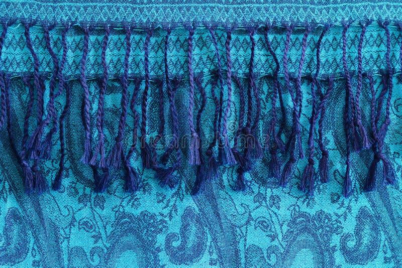 Woolen, kopierte Kaschmir Schal- oder Türkisschal mit Quasten stockbild