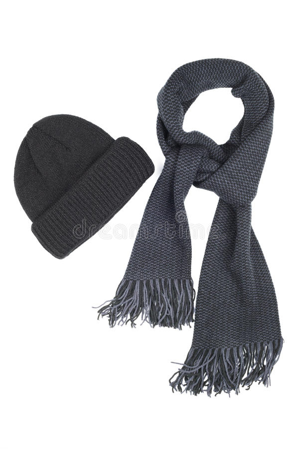 Woolen scarf and cap isolated on white background. Men's accessory black stock photo