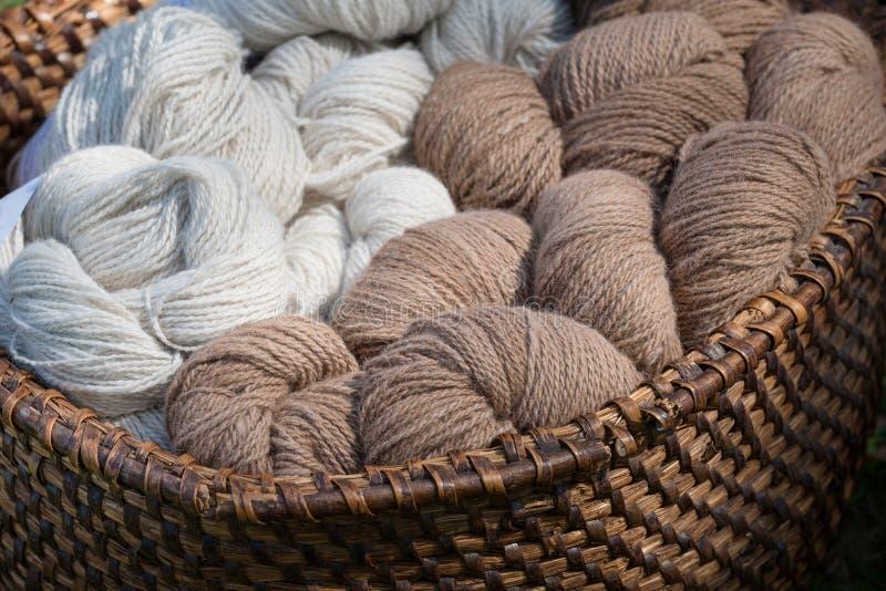 Woolen yarn, alpacas wool. Natural woolen hand spinned alpacas yarn at handicraft fair royalty free stock images