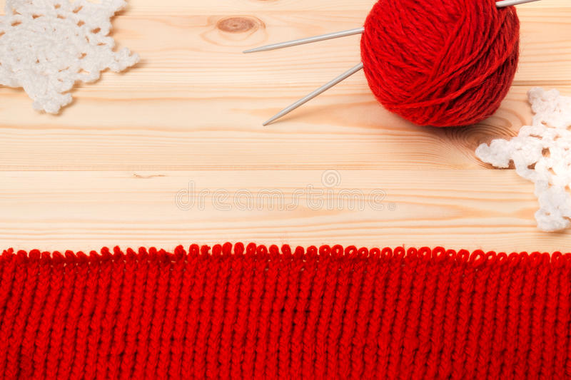 Woolen yarn, knitwear and knitted decoration snowflakes stock photos