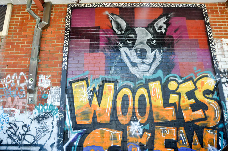 Woolies Crew: Graffiti in Fremantle, Western Australia royalty free stock images