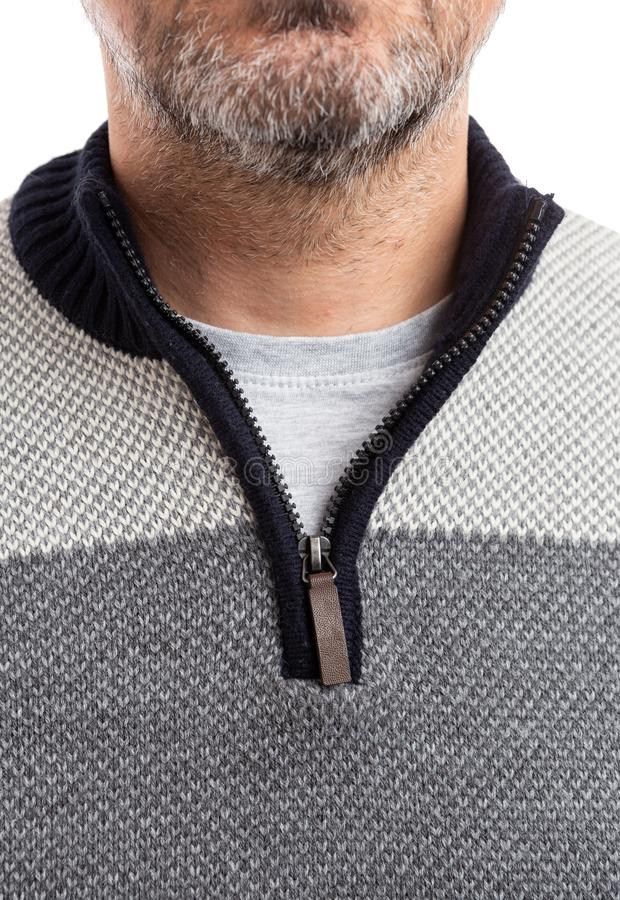 Man sweater with zipper close-up. Woollen man sweater with zipper close-up isolated on white studio background royalty free stock photos